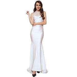 auf lager weißer Stickerei-Sleeveless hoher Stutzen-im Backless Partei-Kleid