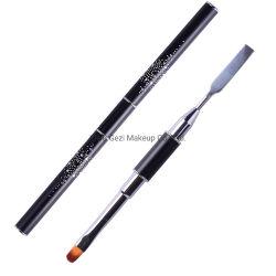 Новая конструкция со стразами черного цвета ручки Dual-Ended лак для ногтей гелем искусства щетки