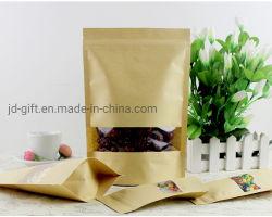 도매 크라프트 종이 소매 식품 포장 레클로싱 가능 스탠드업 포치 높은 방벽 및 창문 22 * 31 + 10cm