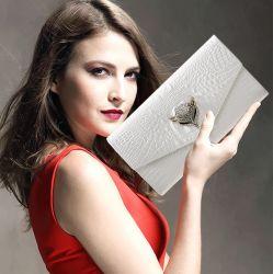 Peau de vache Fashion Wallet Lady Diamants artificiels Fox sac à main