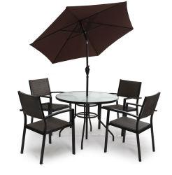 屋外の家具5 PCSセットのための椅子の円卓会議の食事を用いる屋外の庭の家具セット