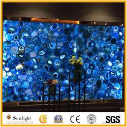 普及した青い瑪瑙によってバックライトを当てられる半貴重な宝石用原石の瑪瑙の石の平板