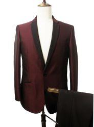 남성용 맞춤형 핏 투피스 원버튼 디너 웨딩 슈트 Tuxedo Suit