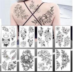 Amazon Большая втулка рычага Tattoo водонепроницаемый временных Tattoo наклейку закрывается Lotus Женщины Мужчины девочки в полной мере цветочный органа Искусство татуировки