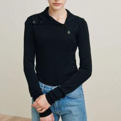 Katoenen van 100% Materiële Ontwerpen met de Blouse van de Vrouwen van het Overhemd van de Col van Knopen