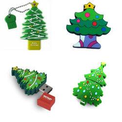 Prix le moins cher en usine personnalisée Forme d'arbre de Noël avec logo USB