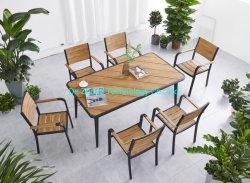 도매 금속 레저 단단한 플라스틱 나무 피크닉 벤치 나무 테이블 현대적인 야외 정원 가구