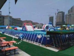 Квадратной формы большого размера надувной стальная рама бассейн, детские аттракционы портативный металлической раме бассейн для водного парка