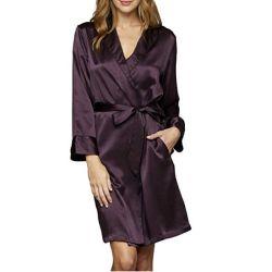 Женщин в сплошной Splendid 100% шелк короткий халат