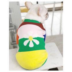 애완용 스웨터 점퍼 대비 색상 꽃의 사랑스러운 도그용 코트 Cat