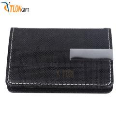 Cartera de cuero de PU de color negro de tarjeta de visita Diseño de Moda caja caja de tarjetas de nombre de metal