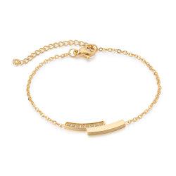 Ajustável em aço inoxidável de moda Zircon Bracelete Barras Duplo Colar Pendente mulheres conjunto de jóias