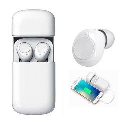 2 em 1 de Carregamento sem fios Mini-Sport fone de ouvido Bluetooth com bateria externa do banco de potência para iPhone Android Market Smart auriculares do telefone