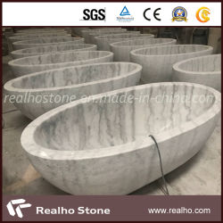 浴室のためのGuangxiの支えがない楕円形の白い大理石の浴槽