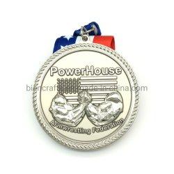 Regalo corrente nazionale americano del trofeo del grande distintivo d'argento dorato del medaglione personalizzato 3D della medaglia con la decorazione Anyard