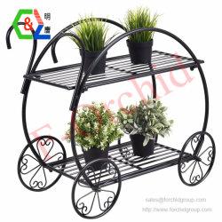 Suporte de carrinho de jardim Flower Pot Titular da Fábrica 2 Rack do visor do nível de Metais Pesados Home suporte de monitor de plantas decorativas