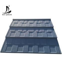 Los nuevos materiales metálicos de acero ligero tejado de pizarra gránulos de piedra de chips de arena recubiertos de piedra de la tablilla del techo de tejas Tejas planas