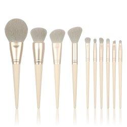 أدوات العناية بالجمال مقبض خشبي عالي الجودة مصنّعة شعر اصطناعية أدوات التجميل تدفع مجموعات أدوات ماكياج مخصصة مع شعار