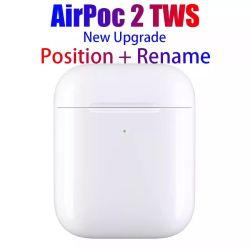 2019 новых беспроводных наушников для iPhone 2 Airpods с случае зарядки аккумуляторной батареи