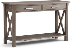 Finition gris Big X Table de la console de conception avec 2 tiroir de bureau