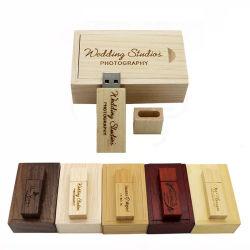 شعار التخصيص قلادة Wood USB سعة 4 جيجابايت وسعة 8 جيجابايت وسعة 64 جيجابايت محرك أقراص محمول USB 2.0 لحفلة الزفاف على قرص UGifts