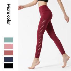Популярные стиле Sexy спортивные брюки для занятий йогой боковой вырез йога износа
