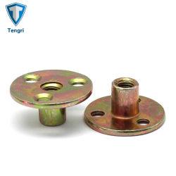 Commerce de gros de couleur personnalisés plaqué zinc Base ronde T Trou de l'écrou de raccord en T de Brad l'écrou de l'écrou de trois trous