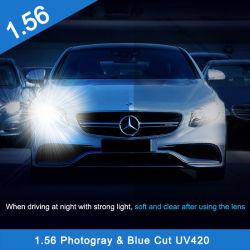 1.56 Single Vision Blue Cut ASP lentille optique photogrise photochromique Lentille de lumière bleue pour lunettes