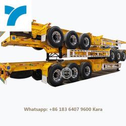 Los ejes de Tri 13t Fuwa camión contenedor de 40 pies el esqueleto de 40 toneladas remolque semi Eje 3 contenedor de 40 pies de remolque semi plana de 45 FT CONTAINER contenedor semi remolque