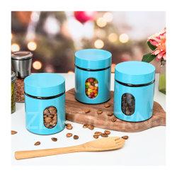 3-delige opvangset voor roestvrijstalen opvangglas voor de keuken Kan met deksel glazen bewaarcontainer voor etenswaren