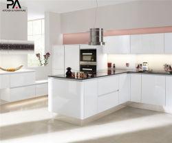 高品質白い光沢のあるMDFのフラットパックの台所家具