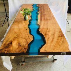 Современная мебель настроить размер круглый из дерева цвета внешний вид кофе высокого хрустальное стекло удалите верхний край реки уникальный слой эпоксидного обеденный стол в наличии на складе