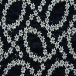 100%Voile de algodón tejido bordado de prendas de vestir 60*60/90*88 Marina