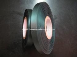 Bord tissé de polyester de couleur noir satin (seul visage & double face)