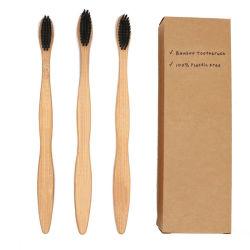 Umweltfreundlich biodegradable Charcoal Borsten OEM Bambus Erwachsene / Kinder Charcoal Soft Zahnbürste