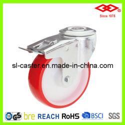 80mm Trou de boulon de pivotement avec frein PU Castor (G102-26D080x30S)