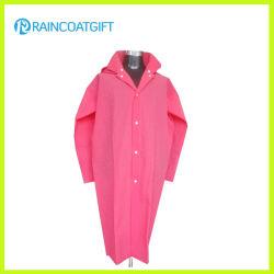 Form der rosafarbenen weichen Regenmantel EVA-Frauen mit langer Hülse Rvc-159