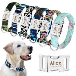 Hond kraag gepersonaliseerde nylon Pet Dog Tag kraag Custom Puppy Cat typeplaatje ID-kragen instelbaar voor middelgrote grote honden gegraveerd