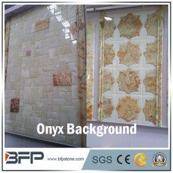 고급스러운 자연석 베이지 Onyx 대리석 모자이크 - 배경 벽