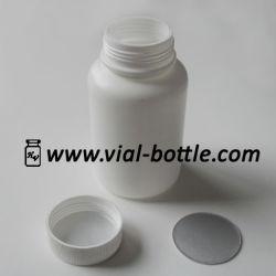 De HDPE branco rondas farmacêutica garrafas W/ Tampas revestidos com indução de lamela