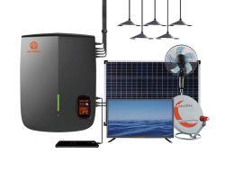 Глобального освещения мини-солнечных домашних систем освещения на солнечной энергии комплект вентилятора с ТВ светодиодные лампы 300WH
