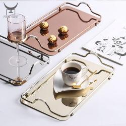 صينية الزينة الفاخرة، صينية خدمة المرايا المعدنية الزجاجية