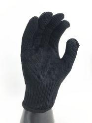 Blanco o negro de corte de alambre de acero inoxidable 5 guante con revestimiento de poliéster de alta resistencia -2354