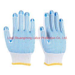 De industriële Hand Gloves de Dubbele Gestippelde Producten van de Veiligheid van de Katoenen Arbeid van Handschoenen