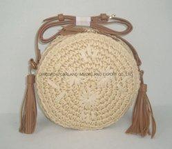 حقيبة ورقية لفصل الصيف مع حقيبة دائرية أنيقة، حقيبة شاطئ طبيعية، مطرزة يدويا