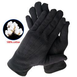 A costura preta traje de banda Traje formal Parade Inspecção luvas de algodão para Homens Mulheres