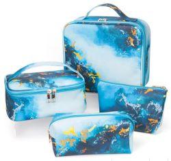 Großhandel Custom Werbegeschenk PU Damen Tasche Sea Pattern 3pcs / 4PCS Reisetasche Kosmetiktasche Set