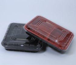 3 Fächer Mikrowelle schwarz/Rad Mitnehmen Lunchbox Lebensmittel Lagerung Behälter für Restaurant
