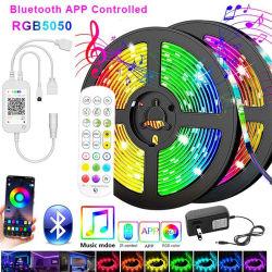 أشرطة LED بتقنية Bluetooth يضيء 5050 شريط مقاوم للمياه DC بجهد 12 فولت RGB شريط مرن
