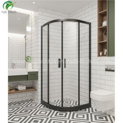 Закаленное стекло боковой сдвижной двери душ из черного алюминия душевая кабина